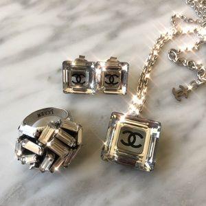 CHANEL swarovski crystal earring & necklace set